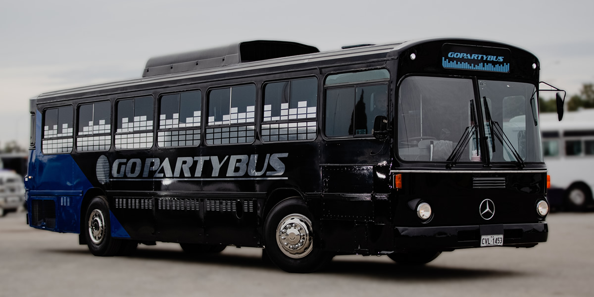 blue perth party bus